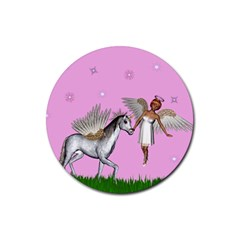 Unicorn And Fairy In A Grass Field And Sparkles Drink Coasters 4 Pack (round) by goldenjackal