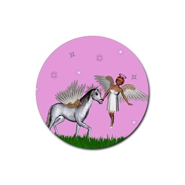 Unicorn And Fairy In A Grass Field And Sparkles Drink Coasters 4 Pack (Round)