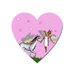 Unicorn And Fairy In A Grass Field And Sparkles Magnet (heart) by goldenjackal