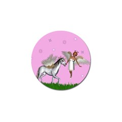 Unicorn And Fairy In A Grass Field And Sparkles Golf Ball Marker by goldenjackal