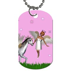 Unicorn And Fairy In A Grass Field And Sparkles Dog Tag (two Sided)  by goldenjackal