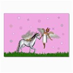 Unicorn And Fairy In A Grass Field And Sparkles Postcard 5  x 7