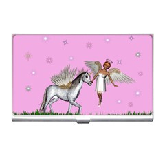 Unicorn And Fairy In A Grass Field And Sparkles Business Card Holder by goldenjackal