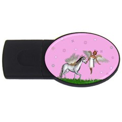 Unicorn And Fairy In A Grass Field And Sparkles 2gb Usb Flash Drive (oval) by goldenjackal