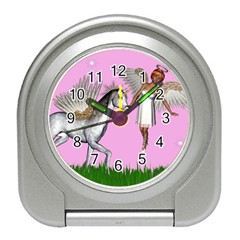 Unicorn And Fairy In A Grass Field And Sparkles Desk Alarm Clock by goldenjackal