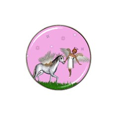 Unicorn And Fairy In A Grass Field And Sparkles Golf Ball Marker (for Hat Clip) by goldenjackal