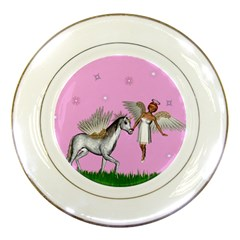 Unicorn And Fairy In A Grass Field And Sparkles Porcelain Display Plate by goldenjackal