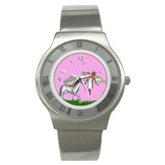Unicorn And Fairy In A Grass Field And Sparkles Stainless Steel Watch (slim) by goldenjackal