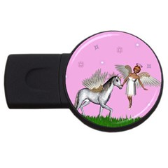 Unicorn And Fairy In A Grass Field And Sparkles 4gb Usb Flash Drive (round) by goldenjackal