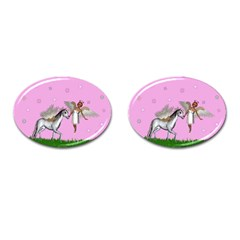 Unicorn And Fairy In A Grass Field And Sparkles Cufflinks (oval)
