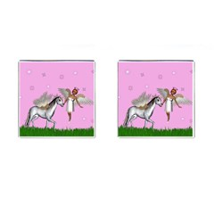 Unicorn And Fairy In A Grass Field And Sparkles Cufflinks (square) by goldenjackal