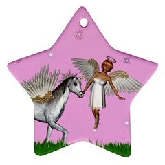 Unicorn And Fairy In A Grass Field And Sparkles Star Ornament (two Sides) by goldenjackal
