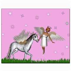 Unicorn And Fairy In A Grass Field And Sparkles Canvas 8  X 10  (unframed) by goldenjackal