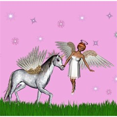 Unicorn And Fairy In A Grass Field And Sparkles Canvas 12  X 12  (unframed) by goldenjackal