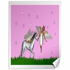 Unicorn And Fairy In A Grass Field And Sparkles Canvas 12  X 16  (unframed) by goldenjackal