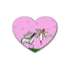 Unicorn And Fairy In A Grass Field And Sparkles Drink Coasters (heart) by goldenjackal