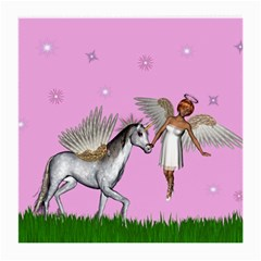 Unicorn And Fairy In A Grass Field And Sparkles Glasses Cloth (medium) by goldenjackal