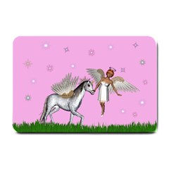 Unicorn And Fairy In A Grass Field And Sparkles Small Door Mat by goldenjackal