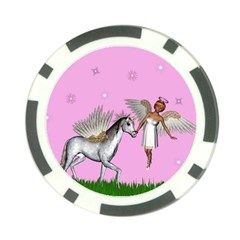Unicorn And Fairy In A Grass Field And Sparkles Poker Chip by goldenjackal