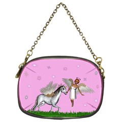 Unicorn And Fairy In A Grass Field And Sparkles Chain Purse (one Side) by goldenjackal