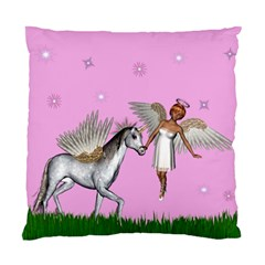 Unicorn And Fairy In A Grass Field And Sparkles Cushion Case (single Sided)  by goldenjackal