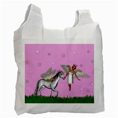 Unicorn And Fairy In A Grass Field And Sparkles Recycle Bag (one Side) by goldenjackal