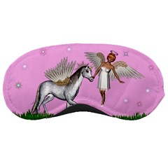Unicorn And Fairy In A Grass Field And Sparkles Sleeping Mask by goldenjackal
