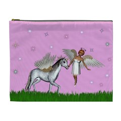 Unicorn And Fairy In A Grass Field And Sparkles Cosmetic Bag (xl) by goldenjackal