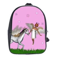 Unicorn And Fairy In A Grass Field And Sparkles School Bag (large) by goldenjackal