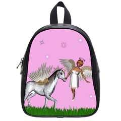 Unicorn And Fairy In A Grass Field And Sparkles School Bag (small) by goldenjackal