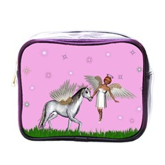 Unicorn And Fairy In A Grass Field And Sparkles Mini Travel Toiletry Bag (one Side) by goldenjackal