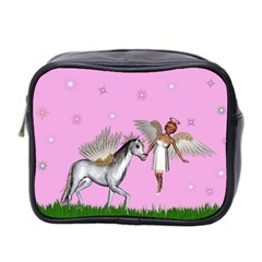 Unicorn And Fairy In A Grass Field And Sparkles Mini Travel Toiletry Bag (two Sides) by goldenjackal