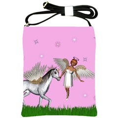 Fairy In A Grass Field And Sparkles Shoulder Sling Bag by goldenjackal