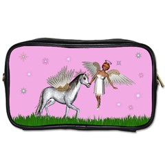 Unicorn And Fairy In A Grass Field And Sparkles Travel Toiletry Bag (one Side) by goldenjackal
