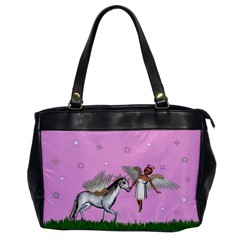 Unicorn And Fairy In A Grass Field And Sparkles Oversize Office Handbag (one Side) by goldenjackal
