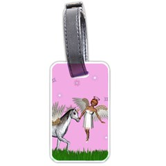 Unicorn And Fairy In A Grass Field And Sparkles Luggage Tag (one Side) by goldenjackal