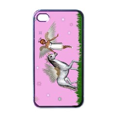 Unicorn And Fairy In A Grass Field And Sparkles Apple Iphone 4 Case (black) by goldenjackal