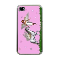 Unicorn And Fairy In A Grass Field And Sparkles Apple Iphone 4 Case (clear) by goldenjackal
