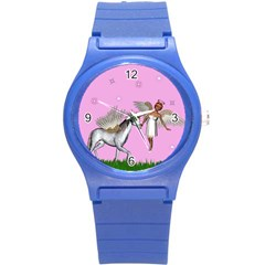 Unicorn And Fairy In A Grass Field And Sparkles Plastic Sport Watch (small) by goldenjackal