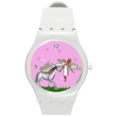 Unicorn And Fairy In A Grass Field And Sparkles Plastic Sport Watch (medium) by goldenjackal