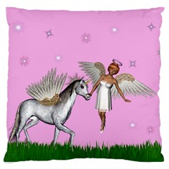 Unicorn And Fairy In A Grass Field And Sparkles Large Cushion Case (single Sided)  by goldenjackal