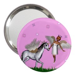 Unicorn And Fairy In A Grass Field And Sparkles 3  Handbag Mirror by goldenjackal