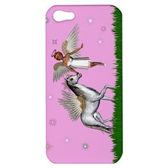 Unicorn And Fairy In A Grass Field And Sparkles Apple Iphone 5 Hardshell Case by goldenjackal
