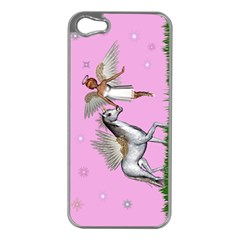 With A Unicorn And Fairy In A Grass Field And Sparkles Apple Iphone 5 Case (silver) by goldenjackal