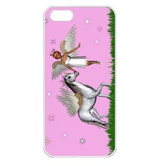 Unicorn And Fairy In A Grass Field And Sparkles Apple Iphone 5 Seamless Case (white) by goldenjackal