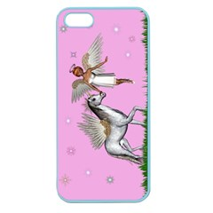 Unicorn And Fairy In A Grass Field And Sparkles Apple Seamless Iphone 5 Case (color) by goldenjackal