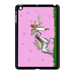 Unicorn And Fairy In A Grass Field And Sparkles Apple Ipad Mini Case (black)