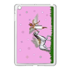 Unicorn And Fairy In A Grass Field And Sparkles Apple Ipad Mini Case (white) by goldenjackal