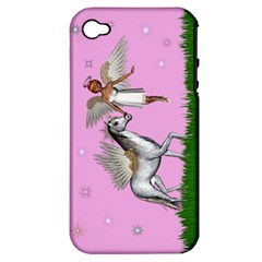 Unicorn And Fairy In A Grass Field And Sparkles Apple Iphone 4/4s Hardshell Case (pc+silicone)
