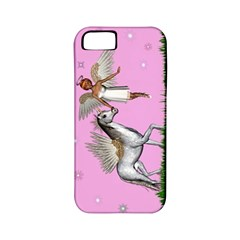 With A Unicorn And Fairy In A Grass Field And Sparkles Apple Iphone 5 Classic Hardshell Case (pc+silicone) by goldenjackal